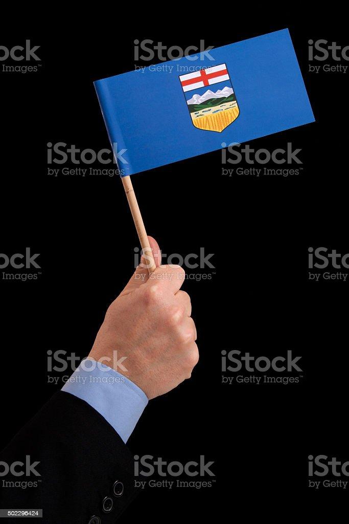 Holding Alberta flag stock photo
