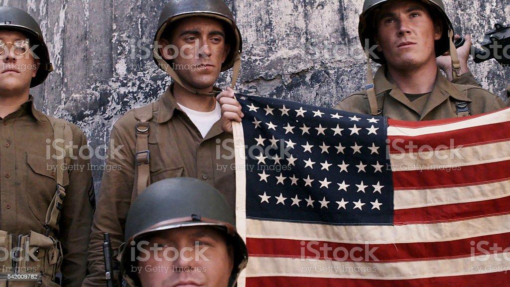 Holding American Flag stock photo