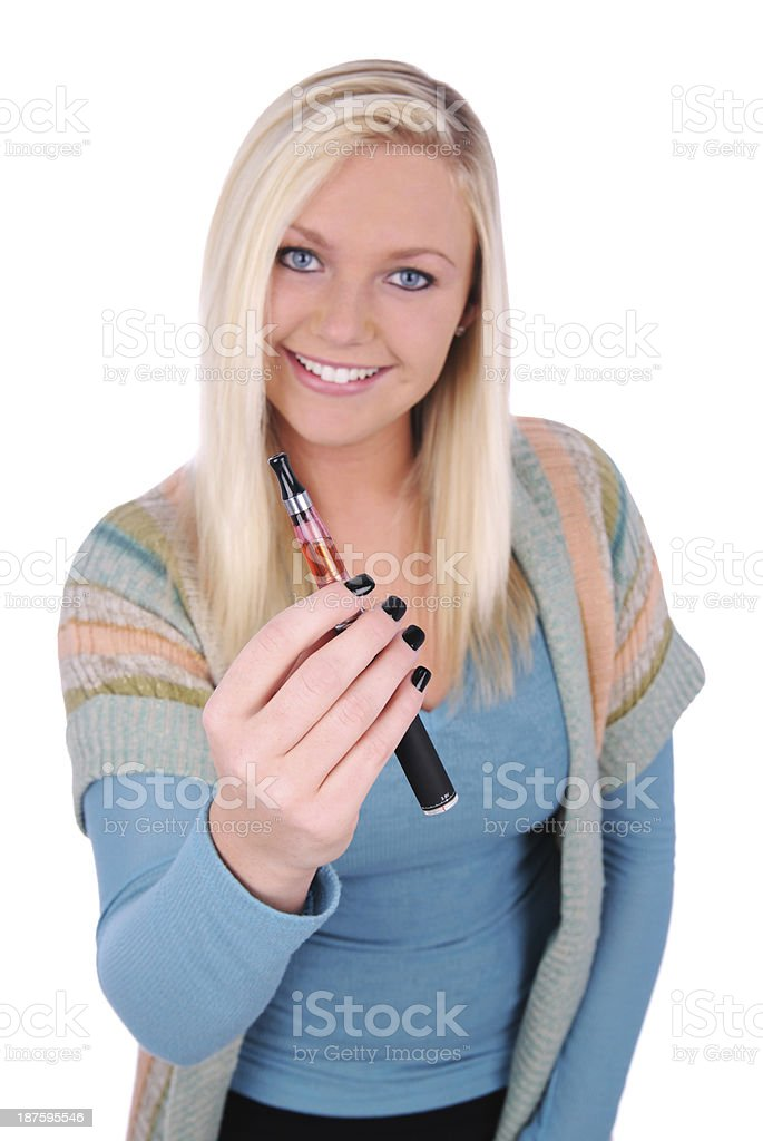Holding An Electronic Cigarette stock photo