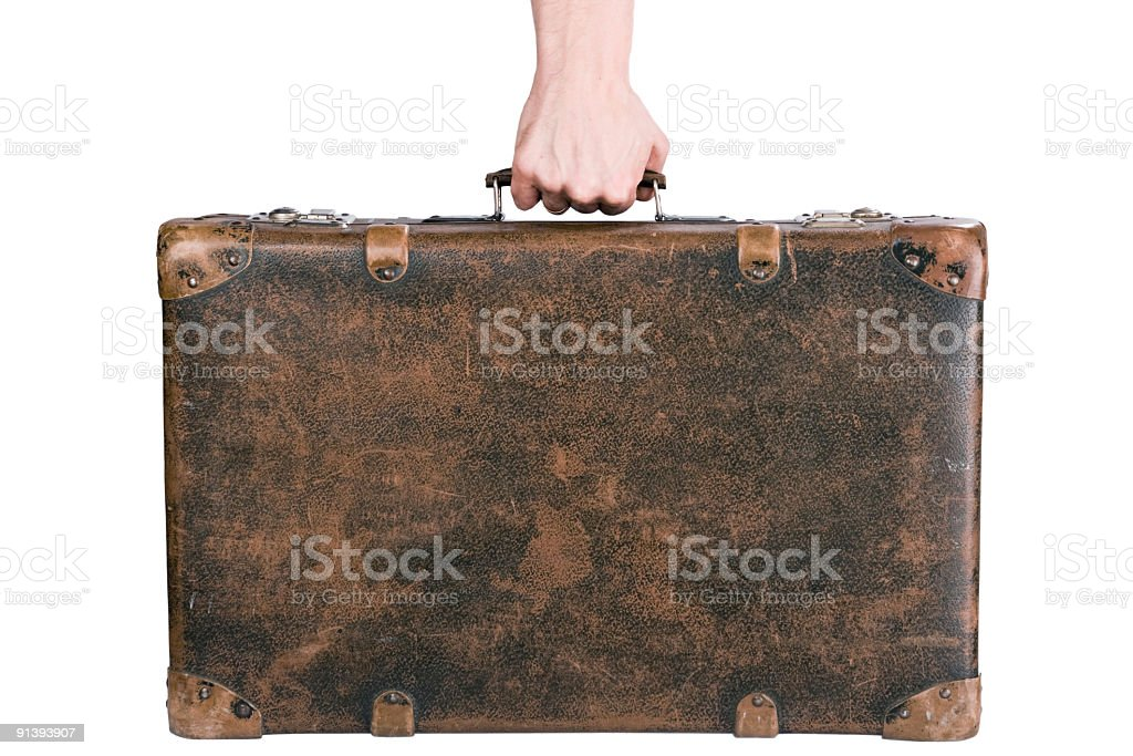 holding an old suitcase stock photo