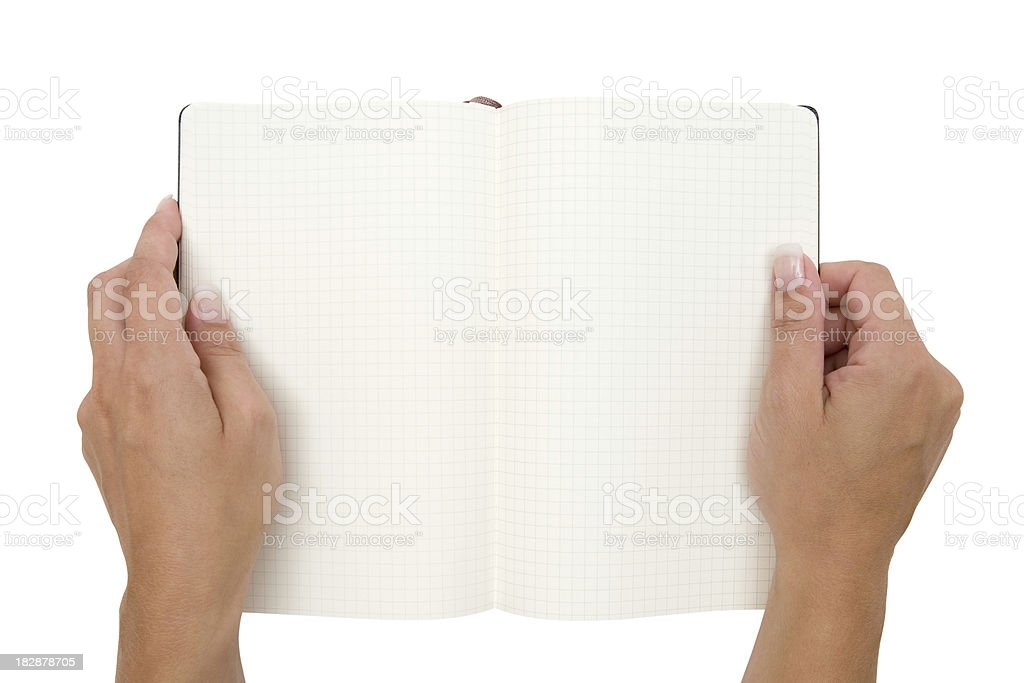 Holding an Open Notebook (Clipping Path Included) royalty-free stock photo