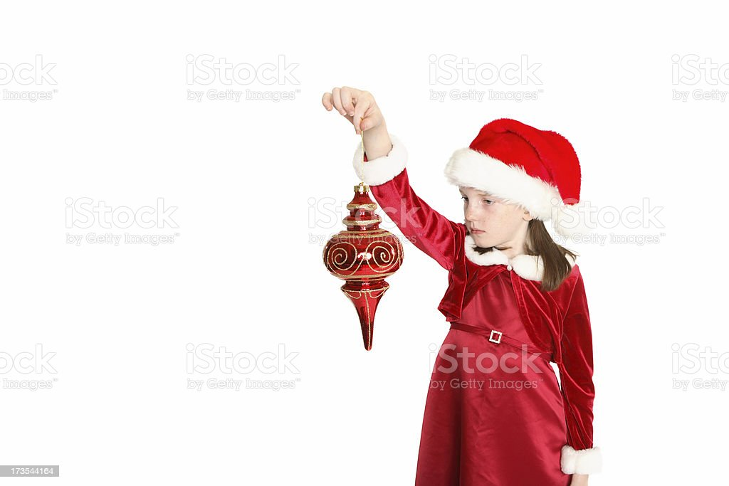 Holding an ornament. stock photo