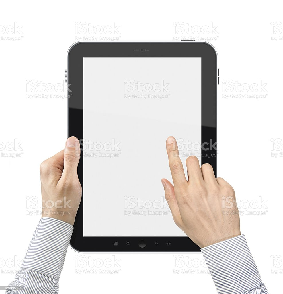 Holding and Point On Digital Tablet royalty-free stock photo