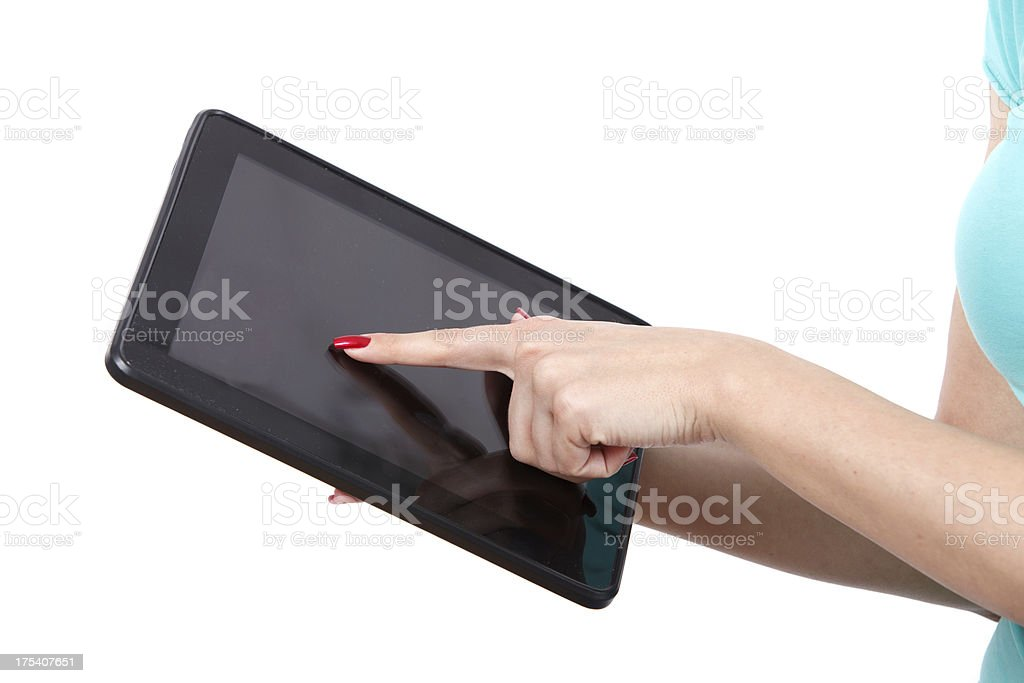 Holding And Point On Multitouch Electronic Tablet PC stock photo
