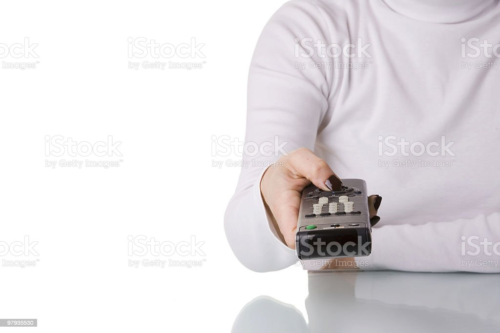 Holding and pointing a remote control stock photo