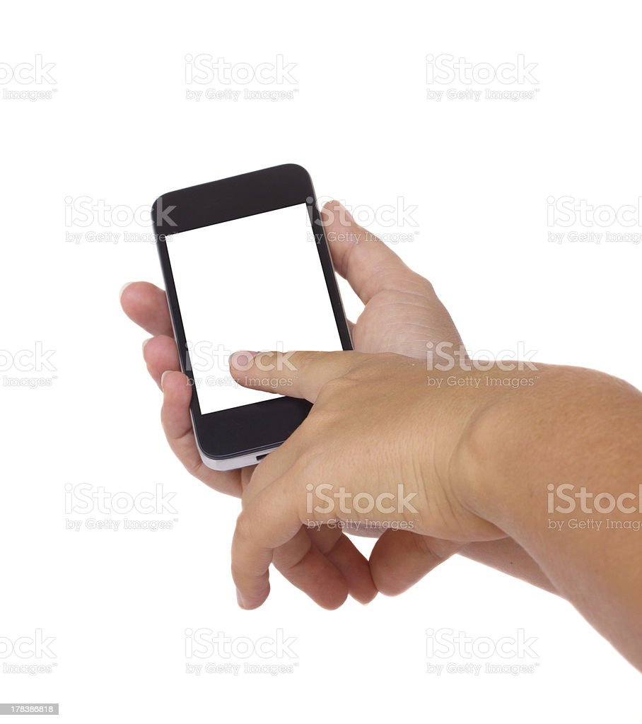 holding and pointing at modern smartphone royalty-free stock photo