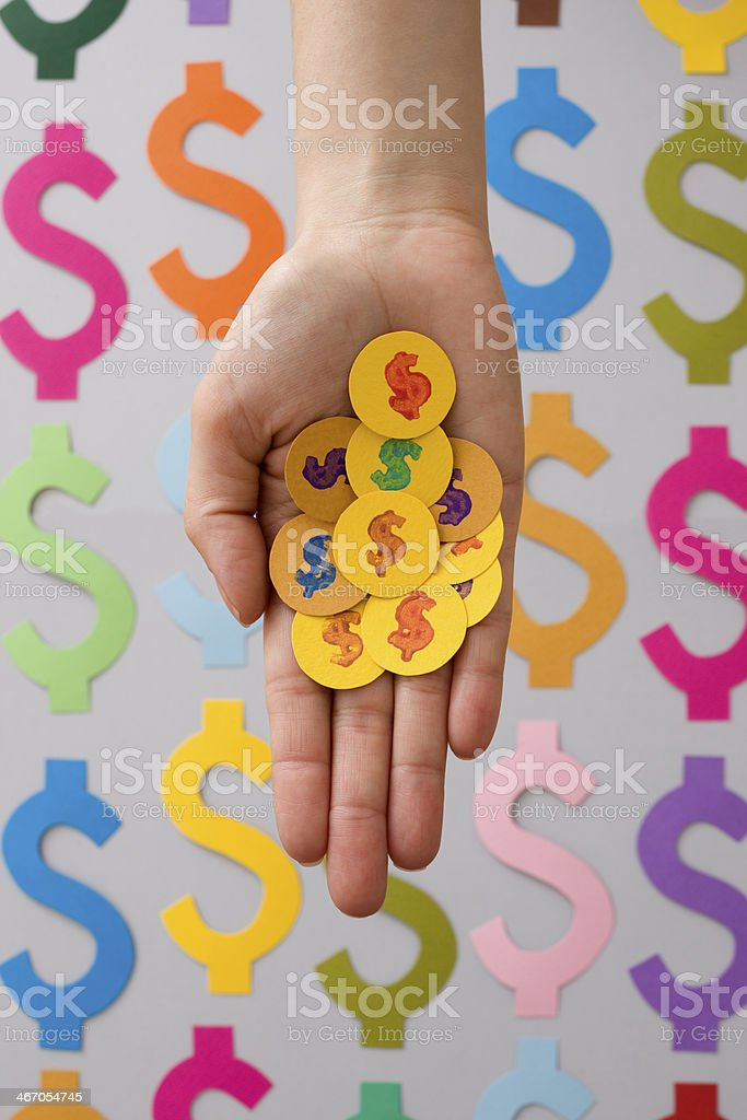 Holding aper coins stock photo