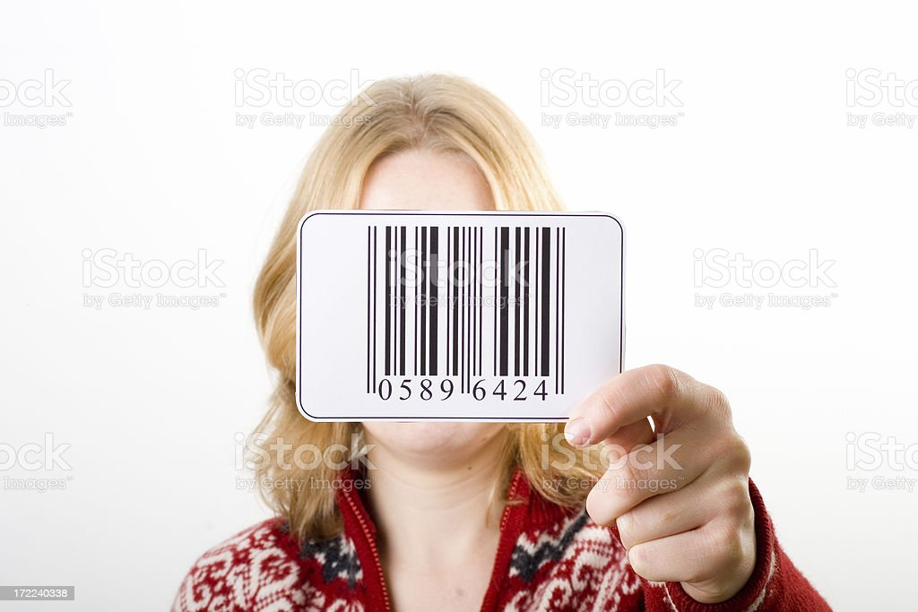 Holding bar code royalty-free stock photo