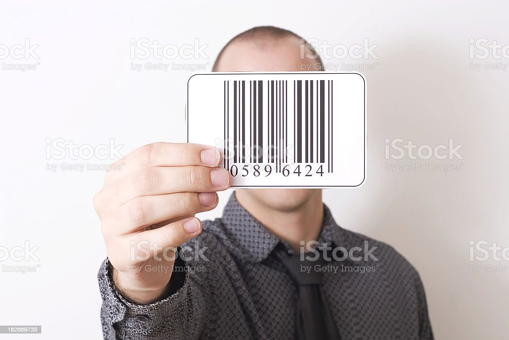 Holding barcode stock photo