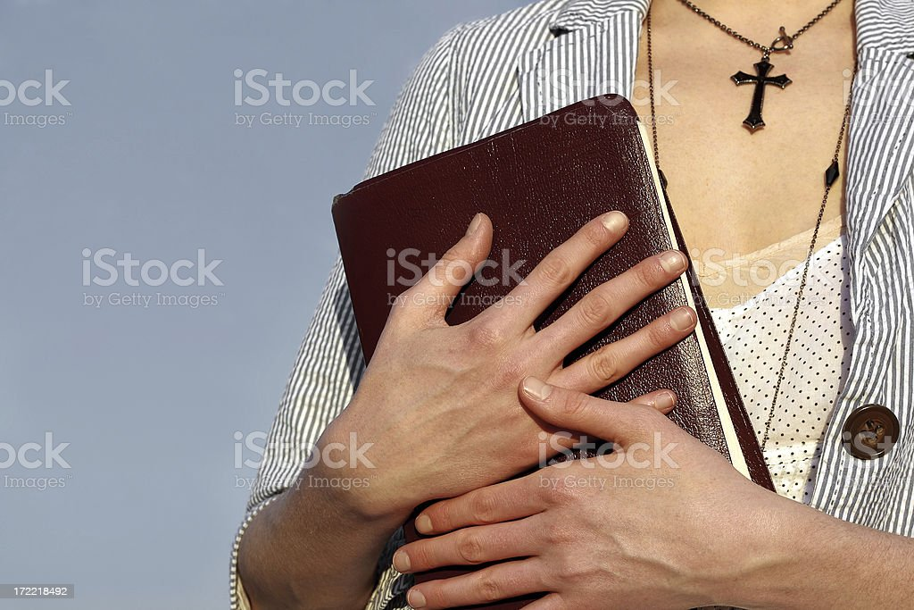 Holding bible royalty-free stock photo
