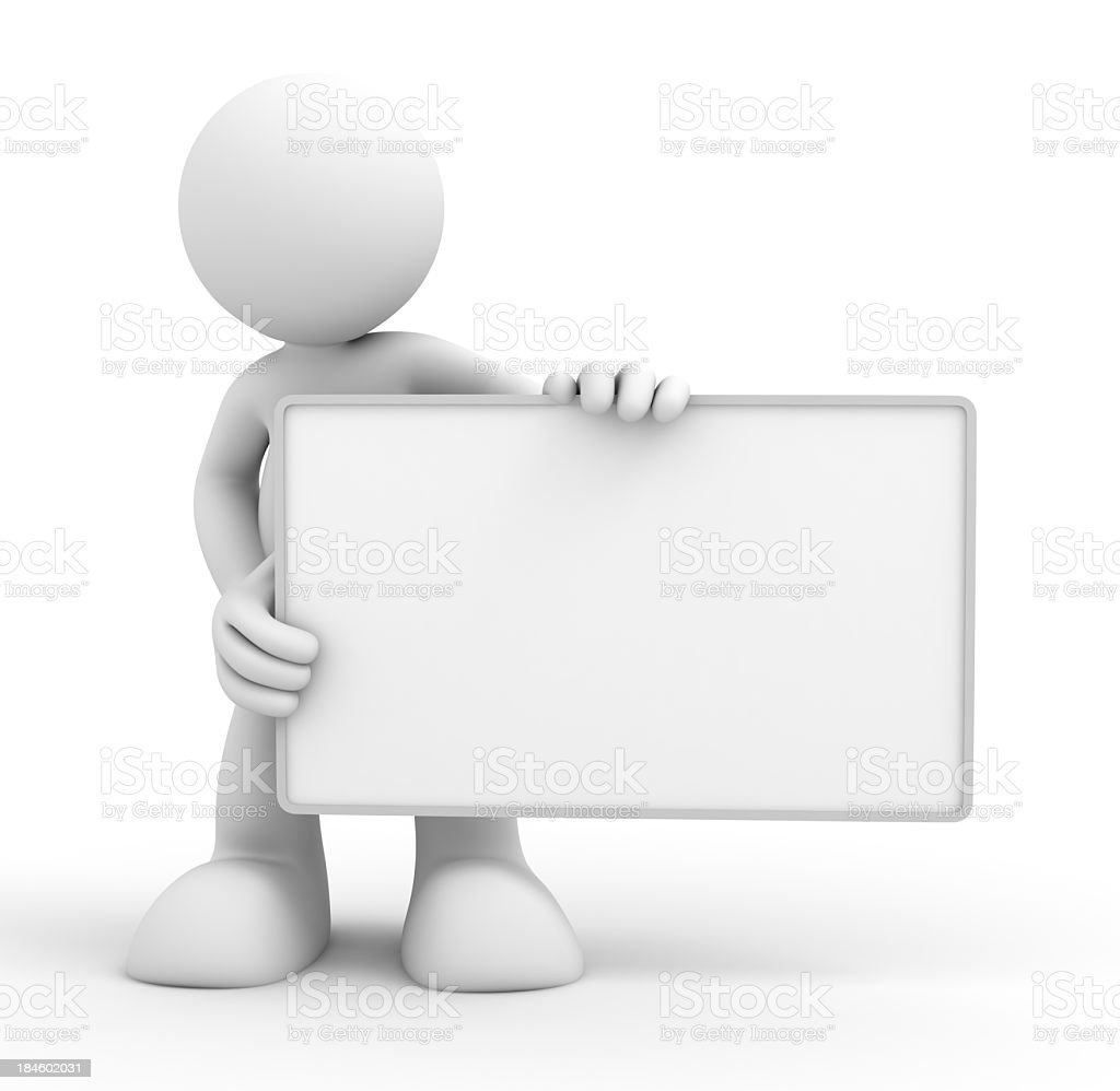 Holding Blank Board - Abstract 3d people royalty-free stock photo
