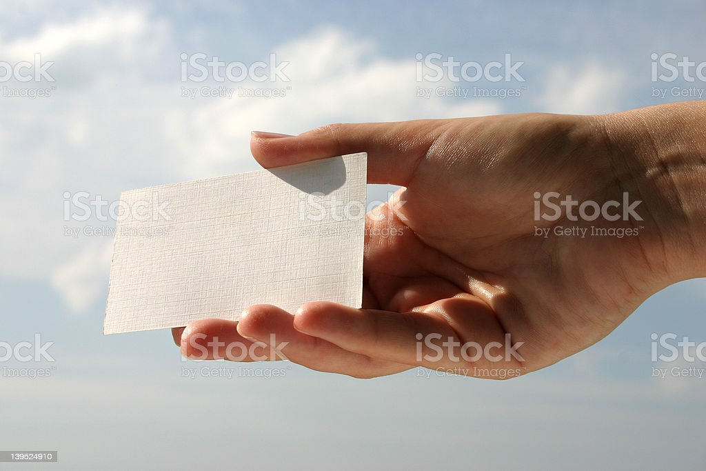 holding blank business card #6 royalty-free stock photo