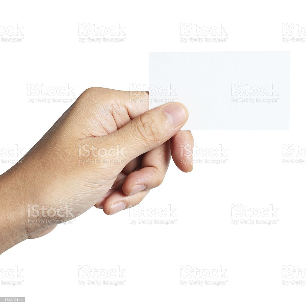 Holding blank business card stock photo
