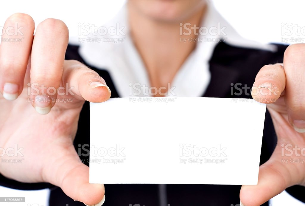 holding blank card royalty-free stock photo