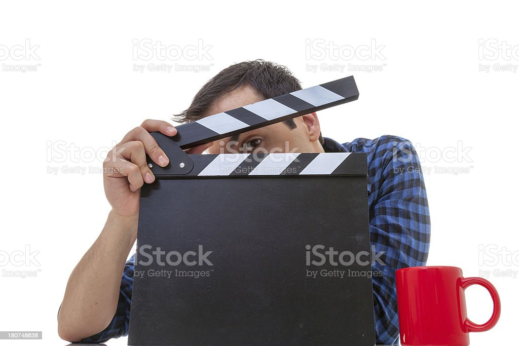 Holding blank clapboard royalty-free stock photo