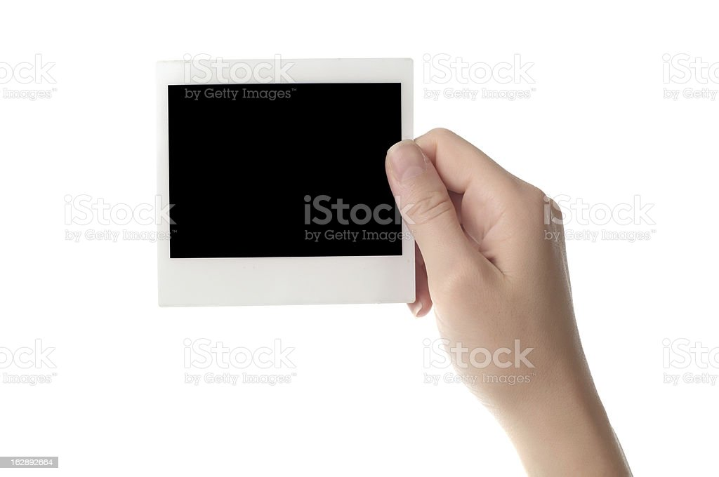 holding blank instant photo royalty-free stock photo