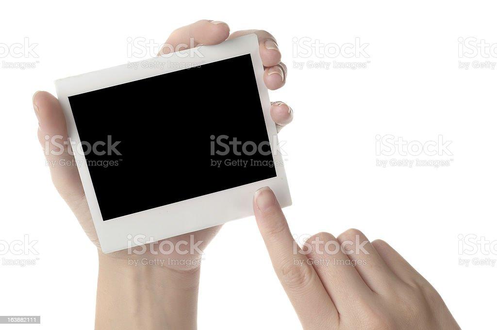 holding blank instant photo royalty-free stock photo