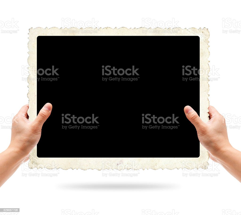 Holding blank Old instant photo frame background isolated stock photo