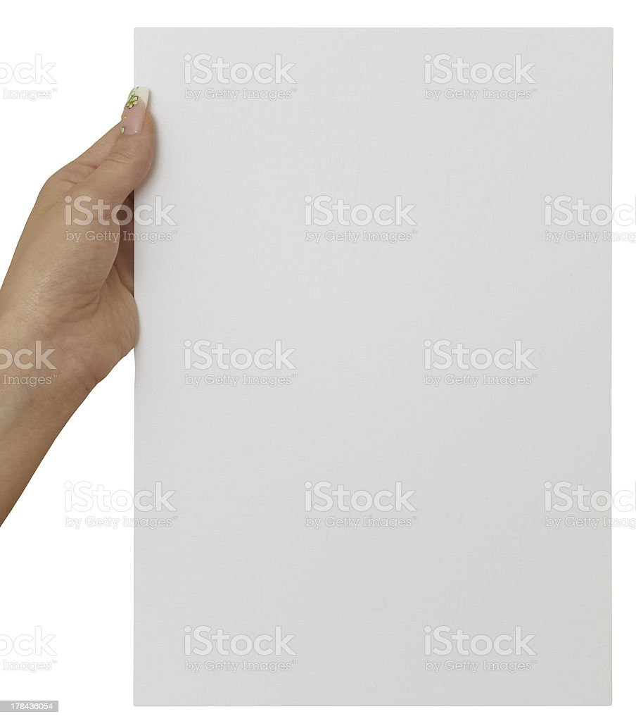 Holding blank paper stock photo