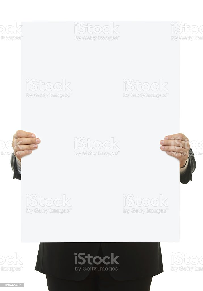 Holding blank sign stock photo