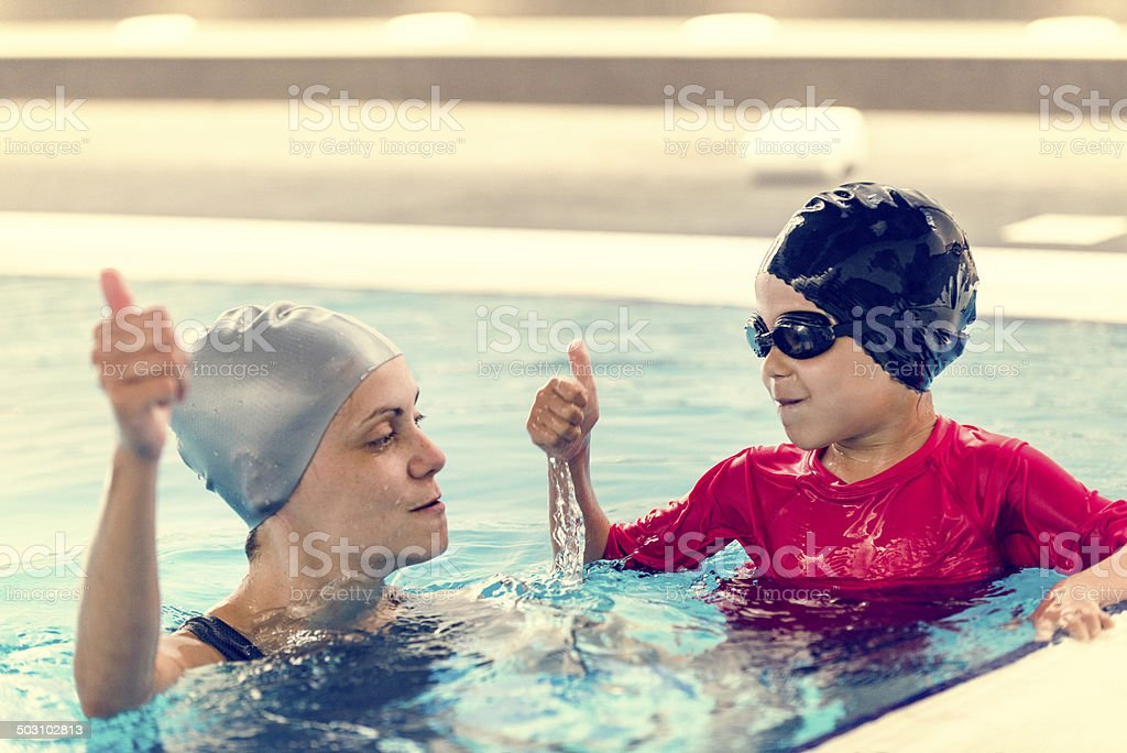 Holding breath in swimming class royalty-free stock photo