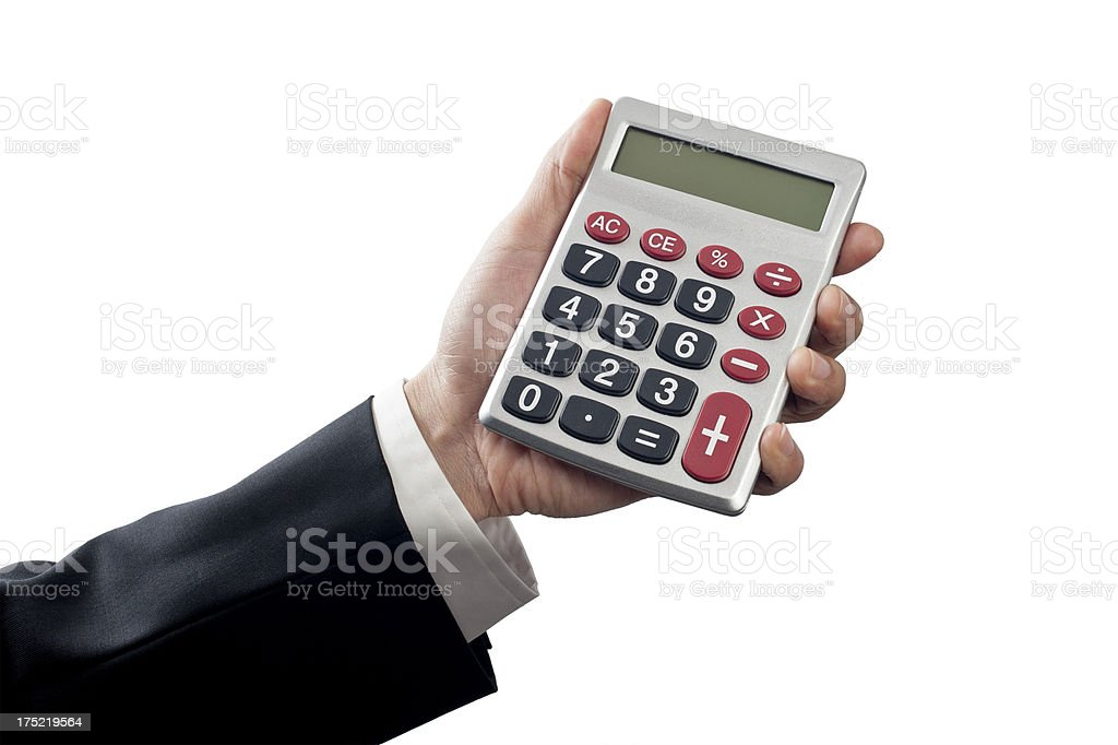 Holding calculator royalty-free stock photo