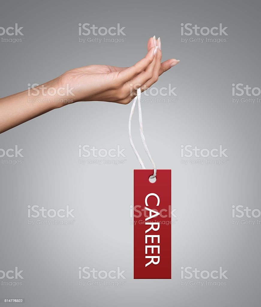 Holding Career Tag stock photo