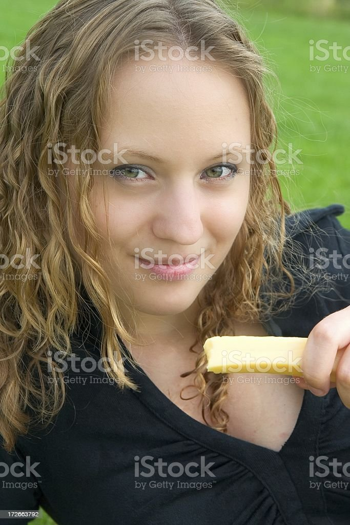 Holding cheese royalty-free stock photo