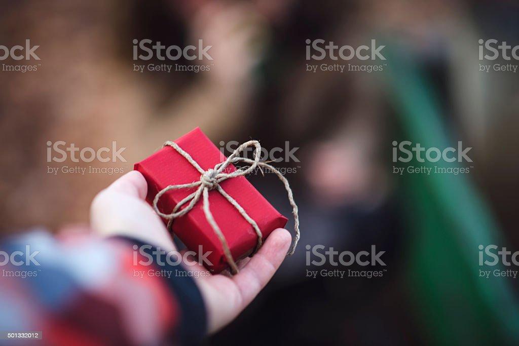 Holding Christmas Gift stock photo