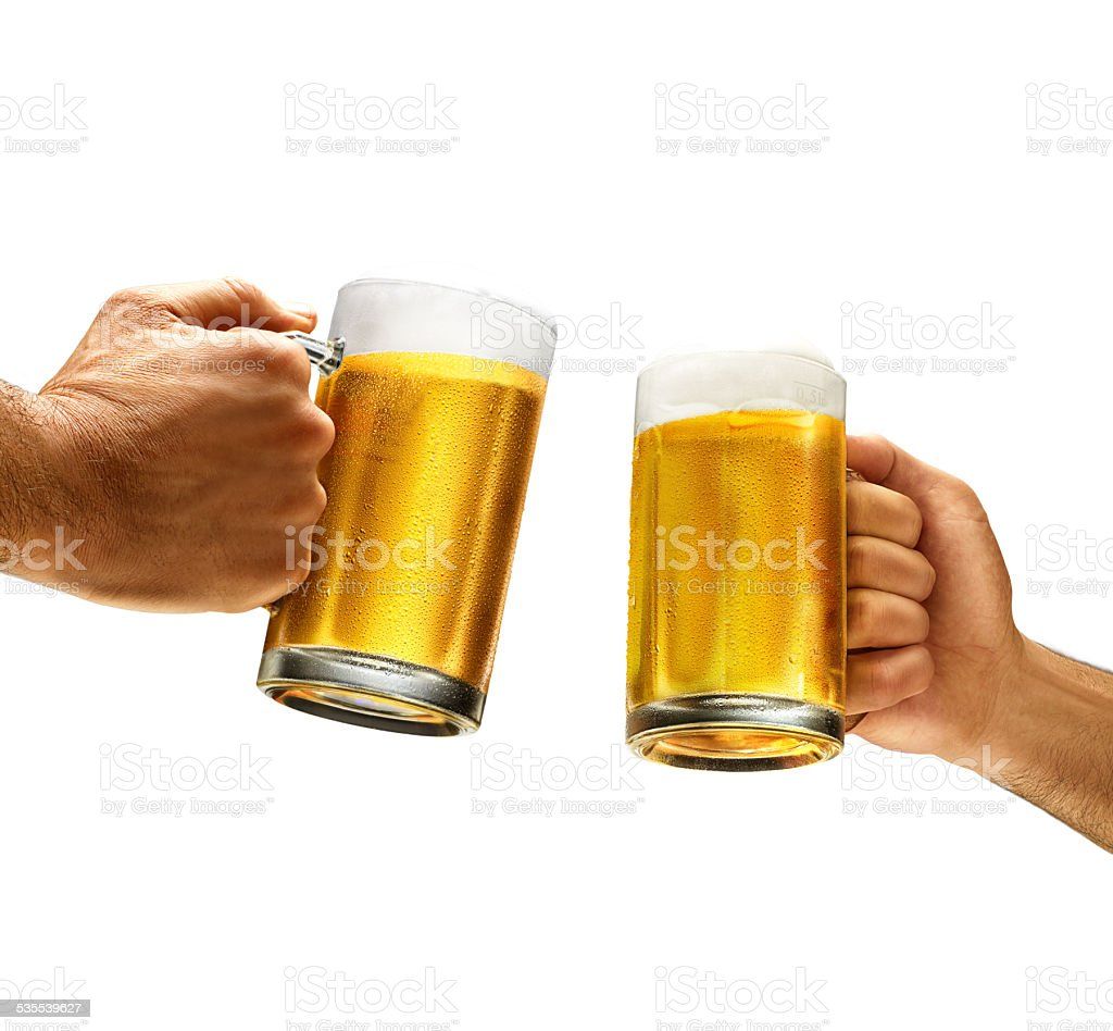 holding cold beer for cheers stock photo