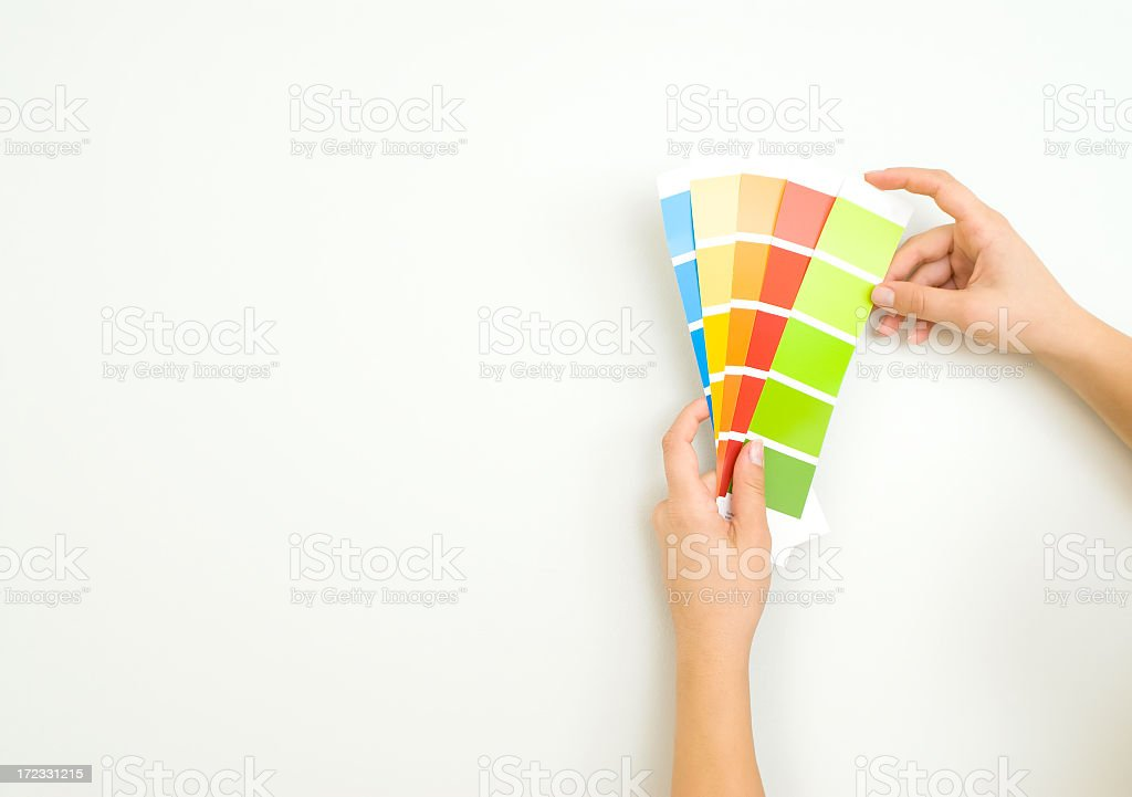 Holding color shade cards royalty-free stock photo
