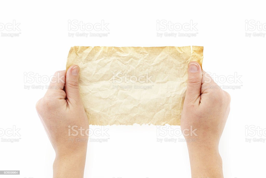 Holding Crumpled Old Paper royalty-free stock photo