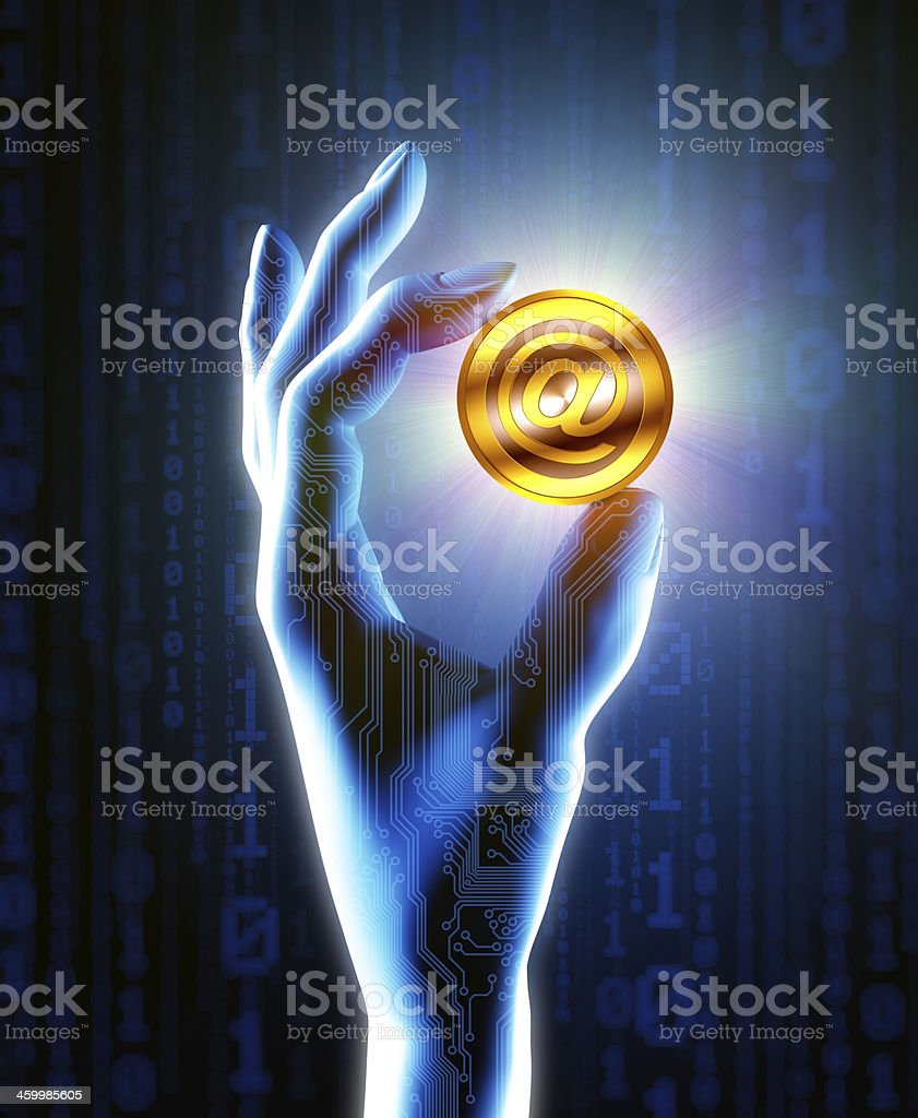Holding Digital Currency royalty-free stock photo