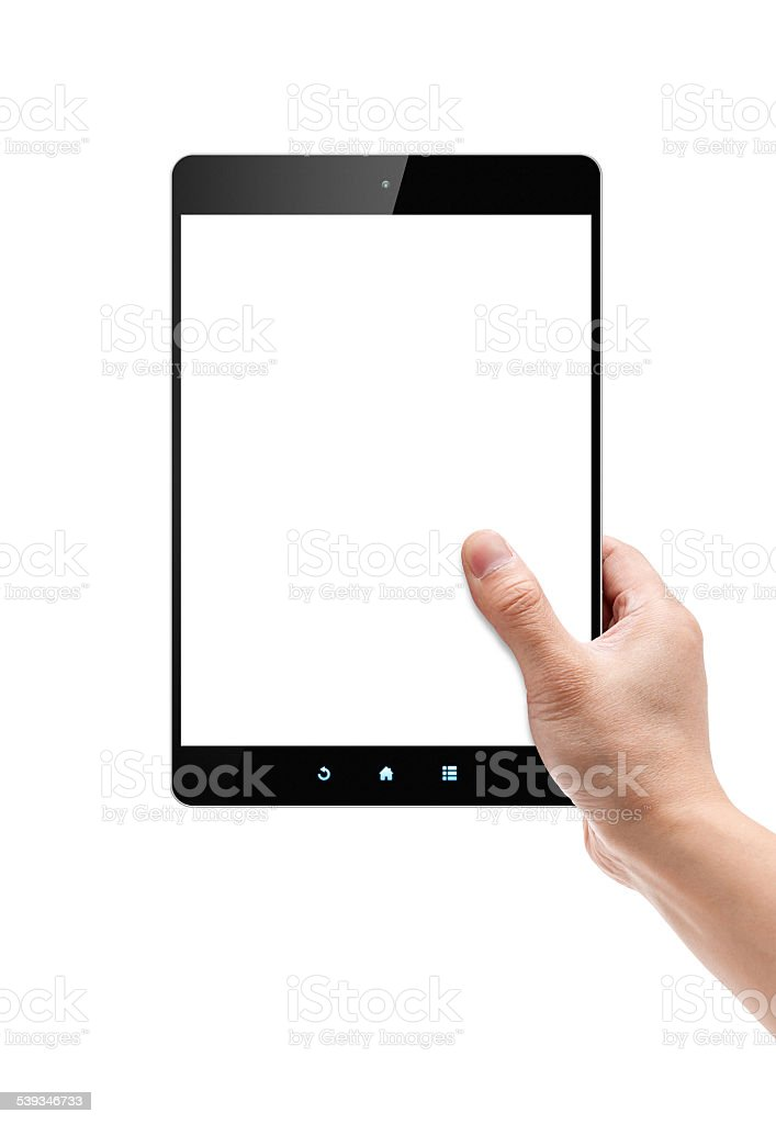 Holding Digital Tablet PC isolated on white background stock photo