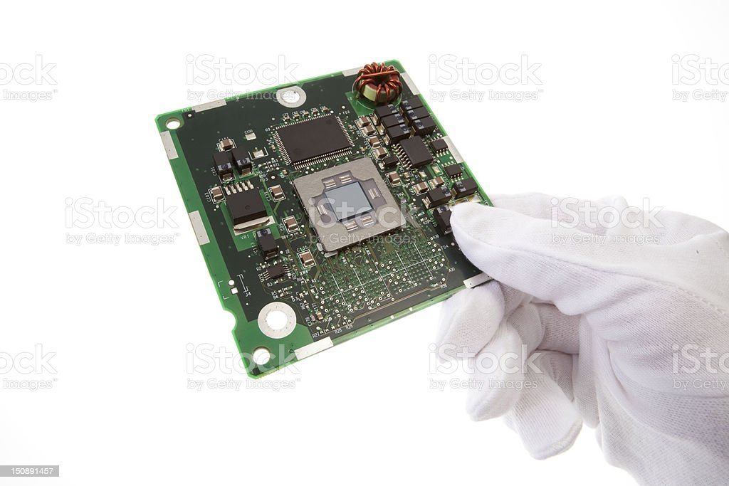 Holding electronic board royalty-free stock photo
