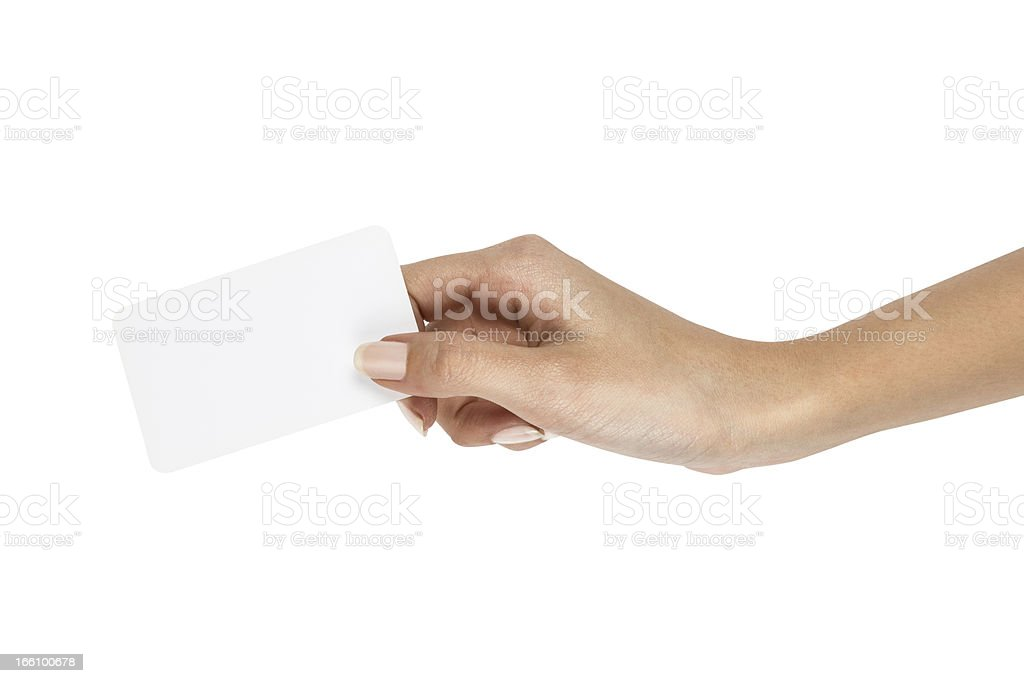 Holding Empty Business Card royalty-free stock photo