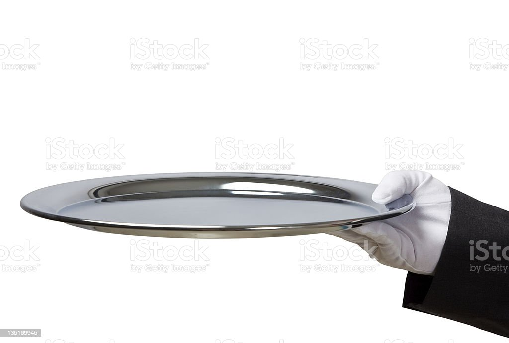 Holding empty silver try against white background royalty-free stock photo