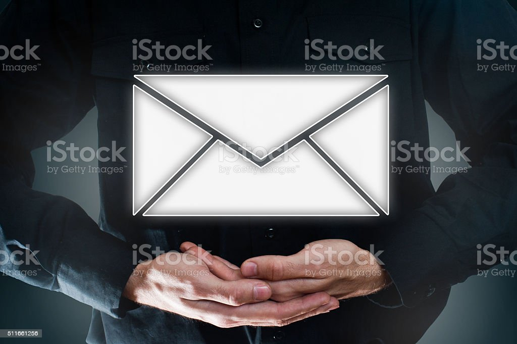 Holding envelope/ email / Touch screen concept (Click for more) stock photo