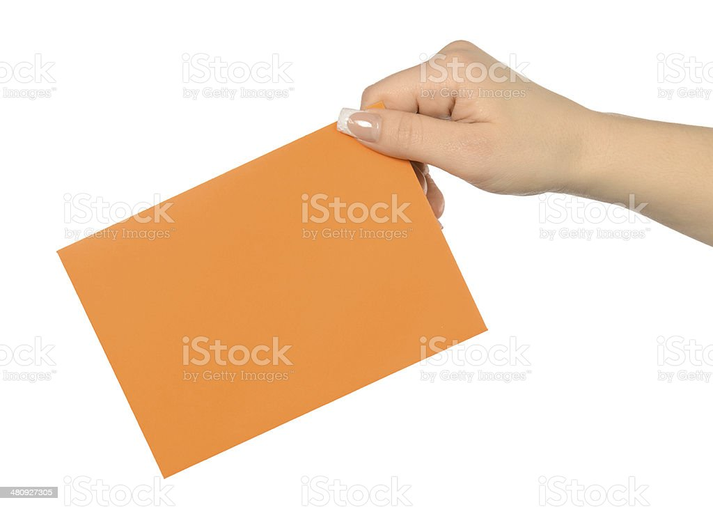holding envelope space for text stock photo