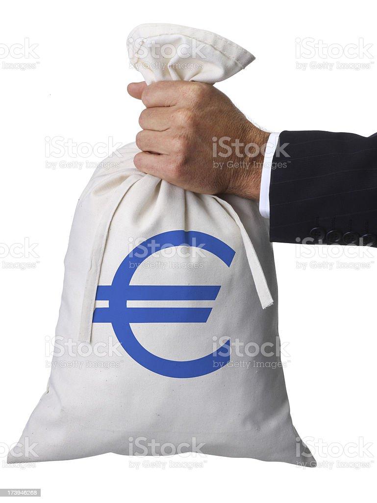 Holding Euro Money Bag royalty-free stock photo