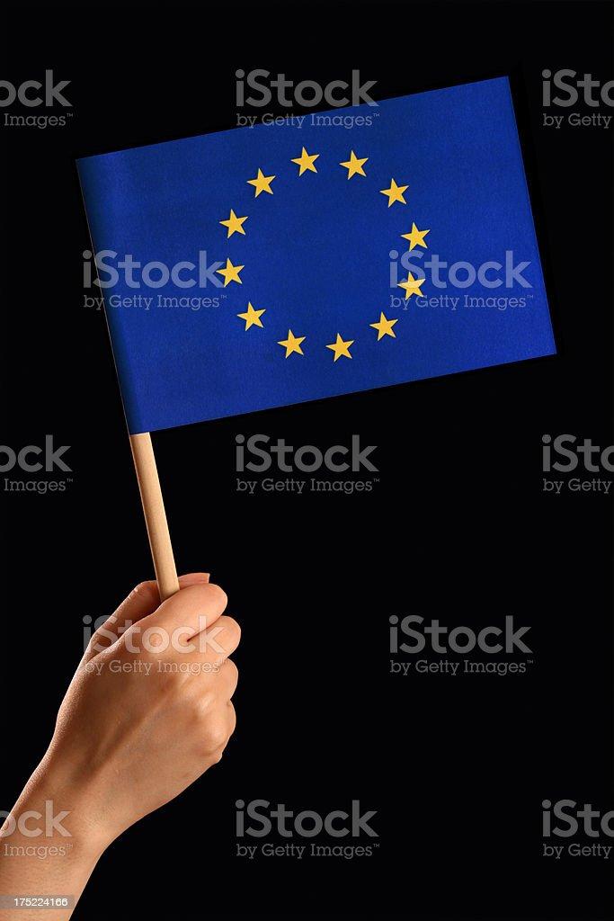 Holding european union flag royalty-free stock photo