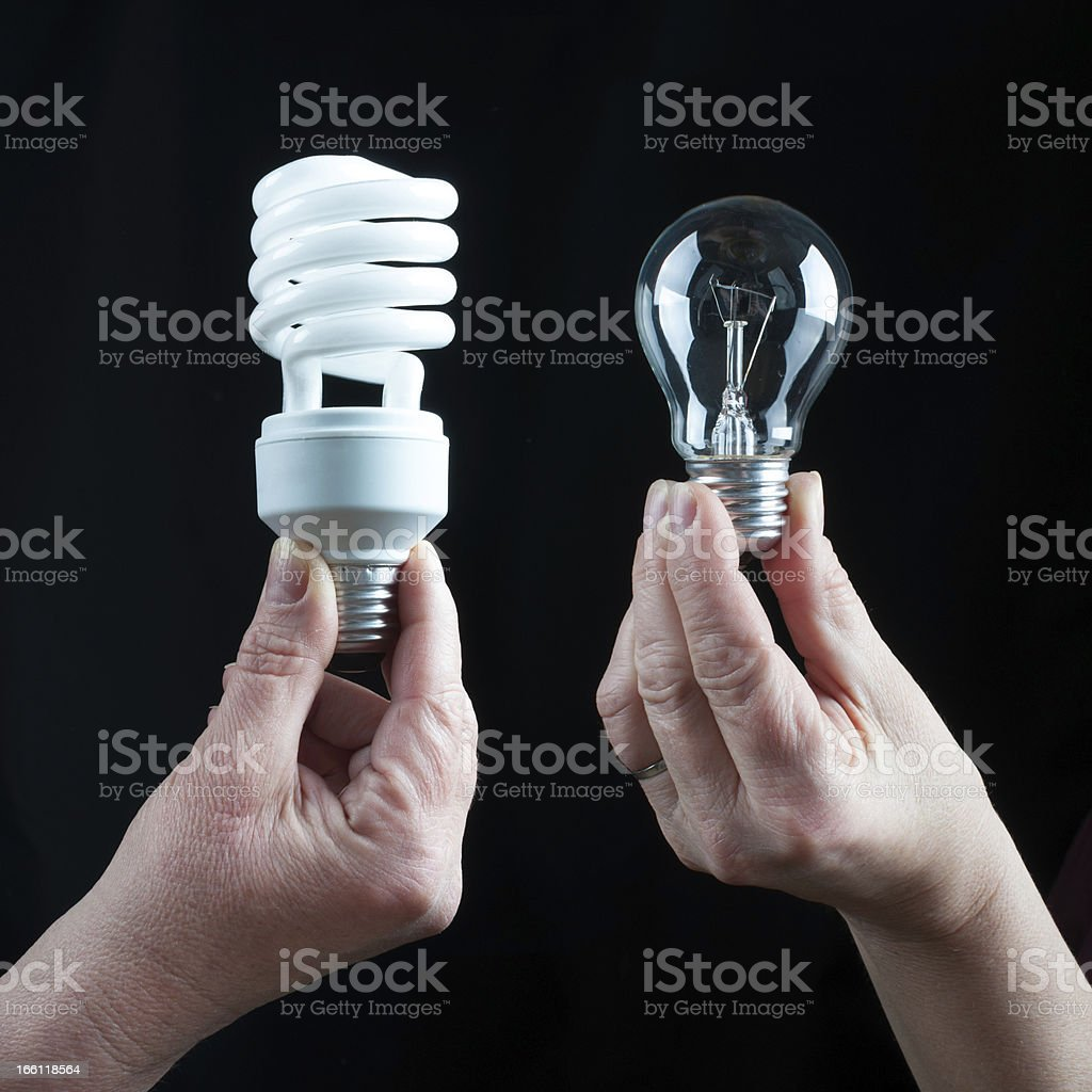 Holding filament and fluorescent lightbulbs royalty-free stock photo