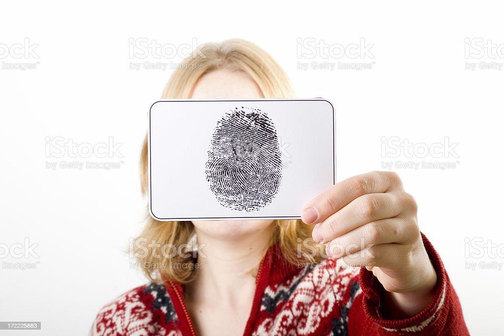 Holding fingerprint royalty-free stock photo