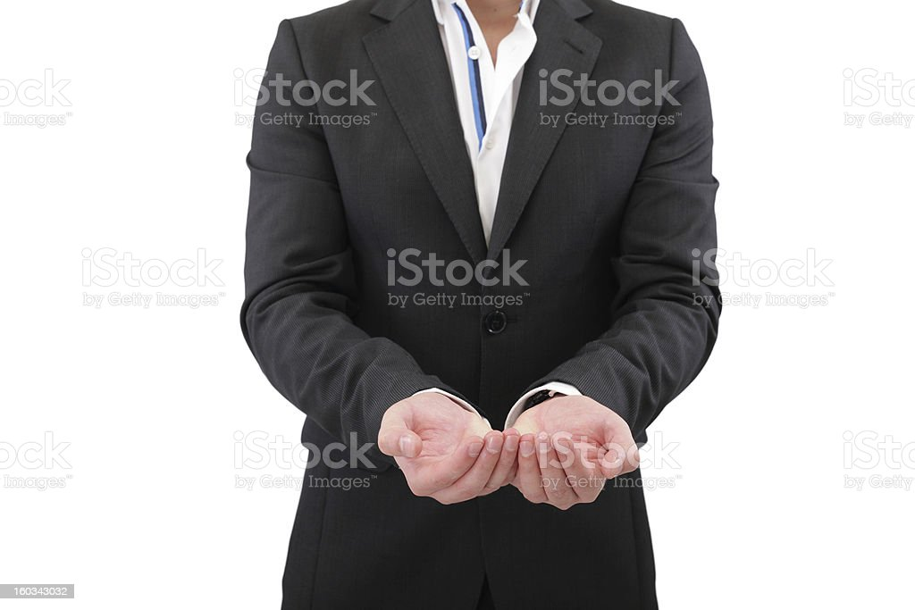Holding, giving, receiving or showing hand sign isolated royalty-free stock photo