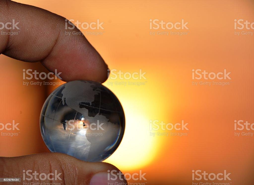 Holding globe stock photo