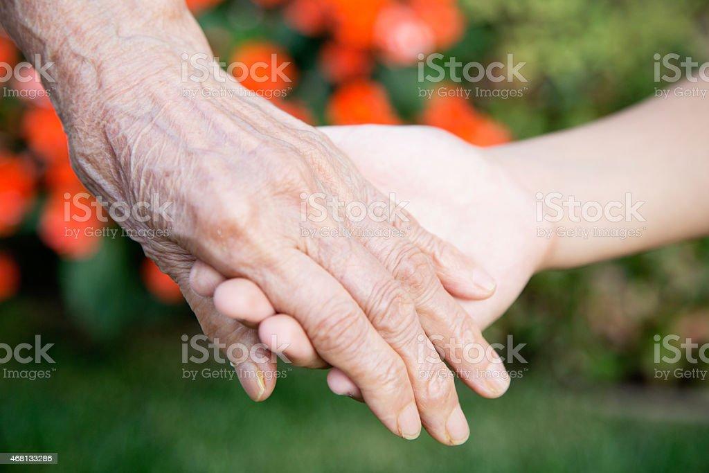 Holding Grandma's Hands stock photo