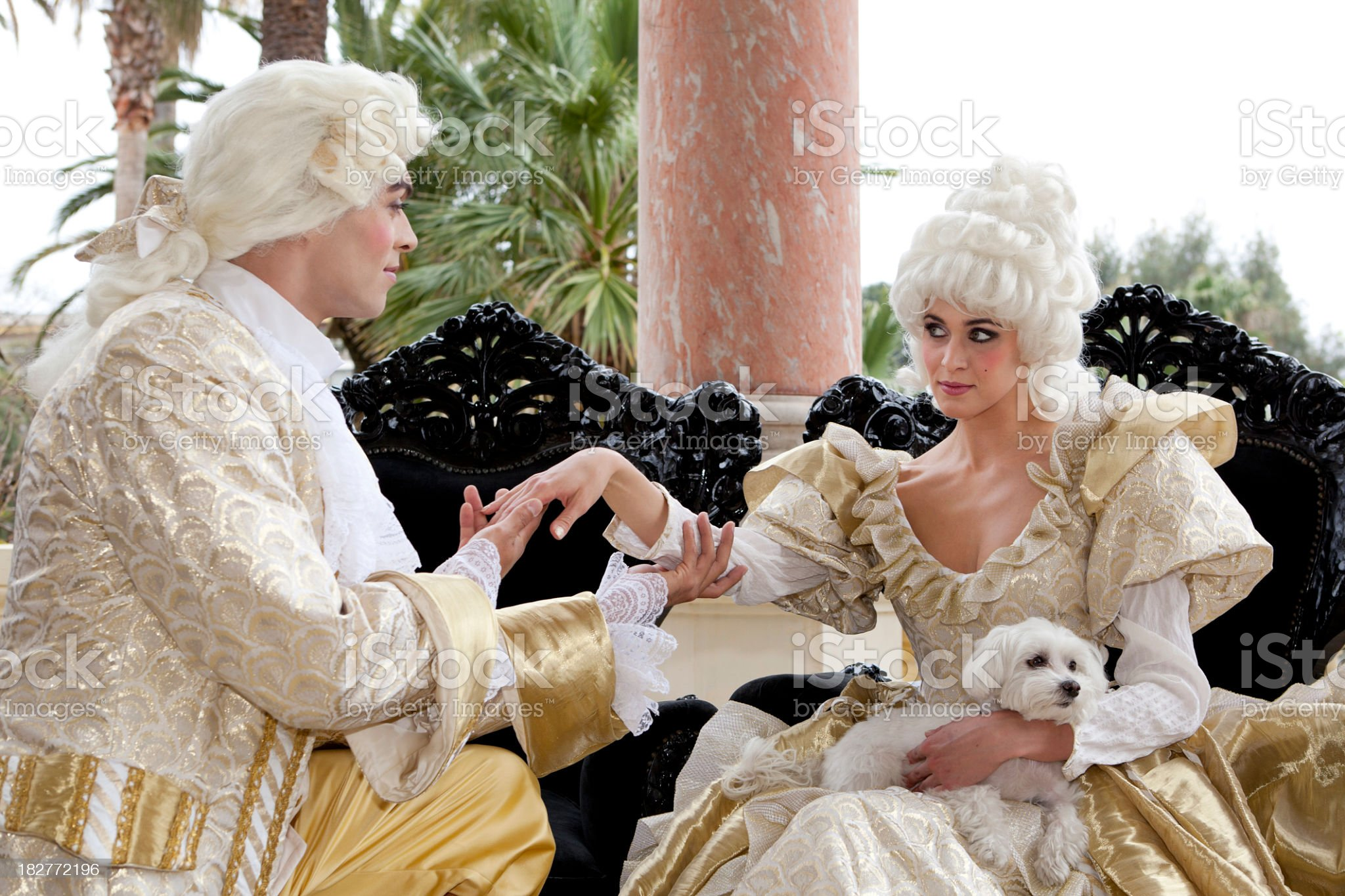 Holding hand of Marie Antoinette royalty-free stock photo