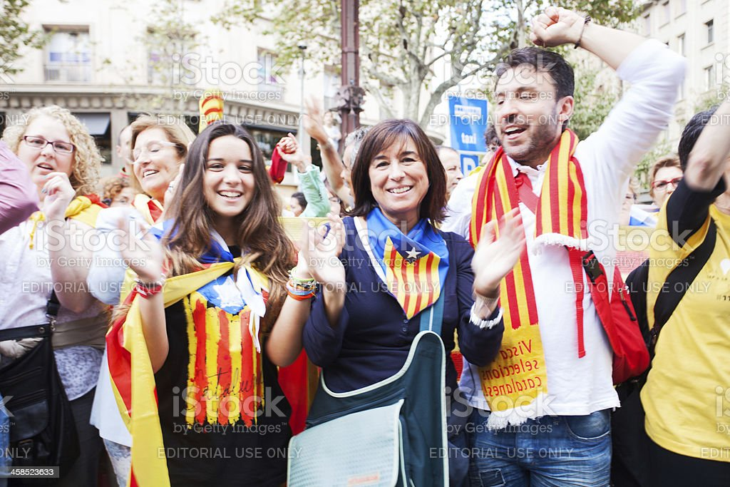 Holding hands for the break of Catalonia from Spain stock photo
