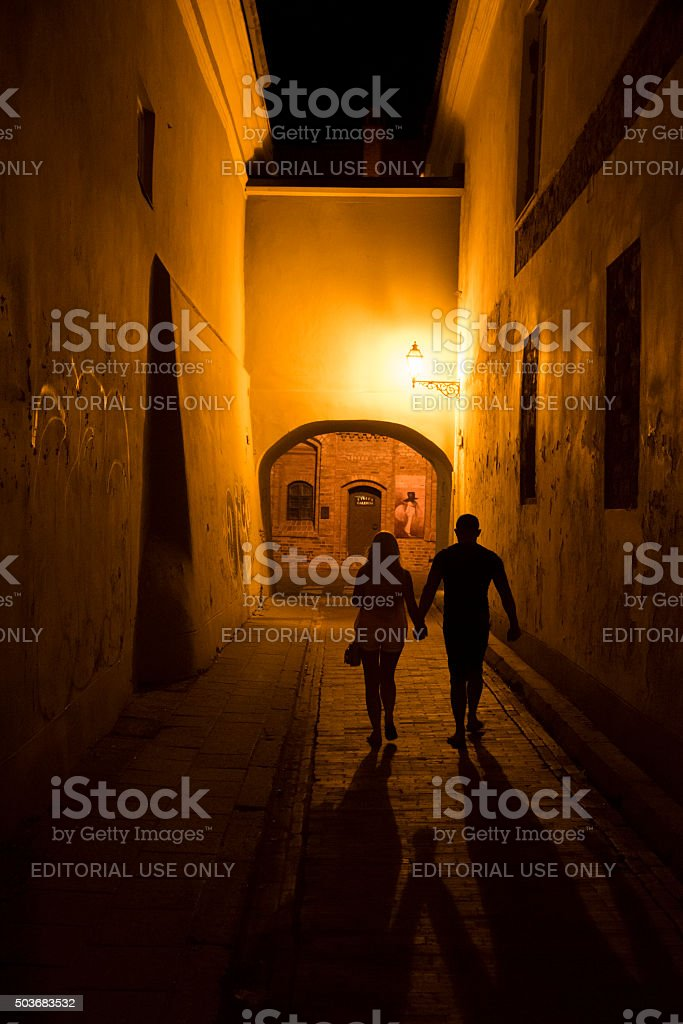 Holding hands in Vilnius, Lithuania stock photo