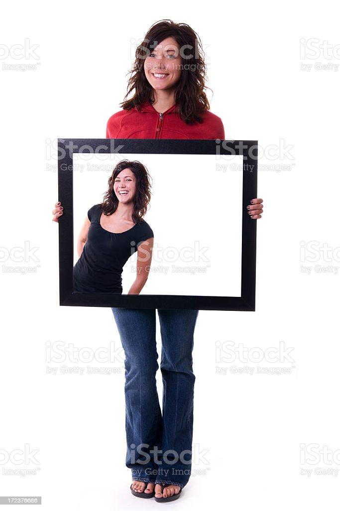 Holding Happy Frame royalty-free stock photo